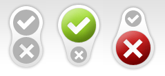 status buttons in untested, successful and failed state