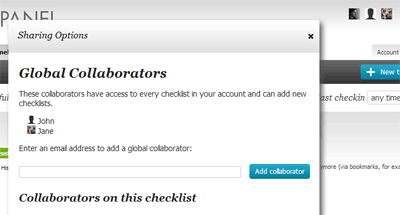 Screen shot of collaborator settings.
